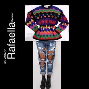 80s VTG Rafaella Oversized Black Colorful Sweater